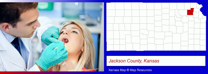 a dentist examining teeth; Jackson County, Kansas highlighted in red on a map