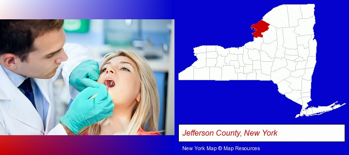 a dentist examining teeth; Jefferson County, New York highlighted in red on a map