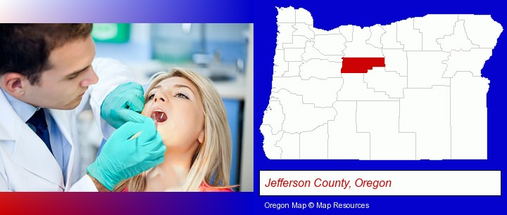 a dentist examining teeth; Jefferson County, Oregon highlighted in red on a map
