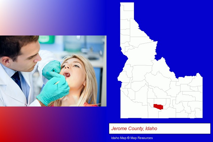 a dentist examining teeth; Jerome County, Idaho highlighted in red on a map
