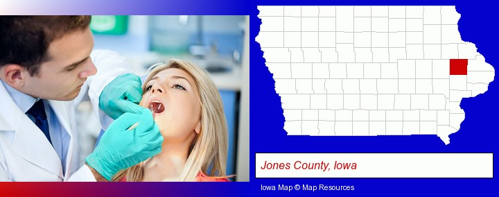 a dentist examining teeth; Jones County, Iowa highlighted in red on a map