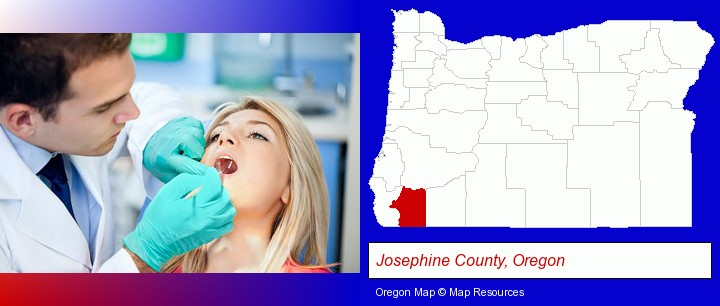 a dentist examining teeth; Josephine County, Oregon highlighted in red on a map