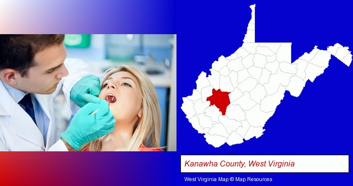 a dentist examining teeth; Kanawha County, West Virginia highlighted in red on a map