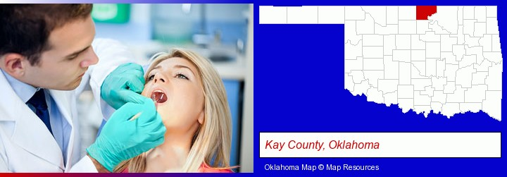a dentist examining teeth; Kay County, Oklahoma highlighted in red on a map