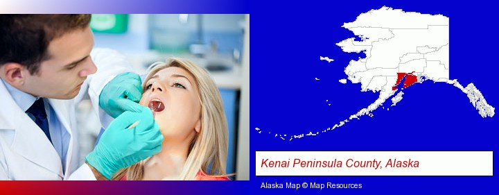 a dentist examining teeth; Kenai Peninsula County, Alaska highlighted in red on a map