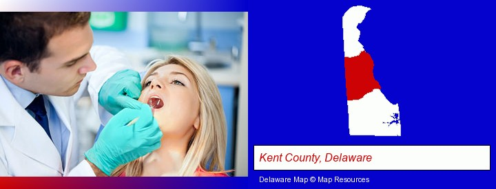 a dentist examining teeth; Kent County, Delaware highlighted in red on a map
