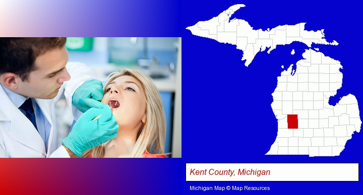 a dentist examining teeth; Kent County, Michigan highlighted in red on a map