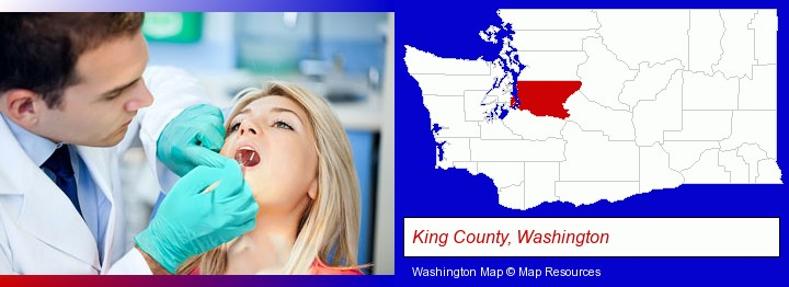 a dentist examining teeth; King County, Washington highlighted in red on a map