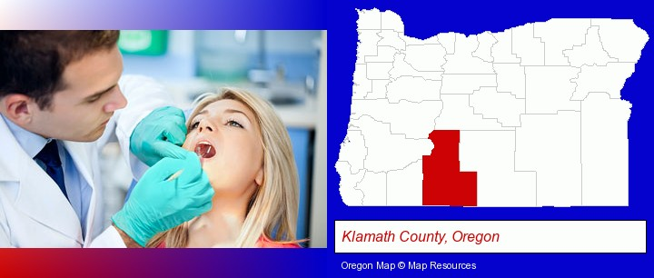 a dentist examining teeth; Klamath County, Oregon highlighted in red on a map