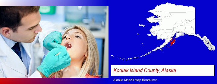 a dentist examining teeth; Kodiak Island County, Alaska highlighted in red on a map