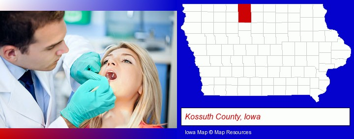 a dentist examining teeth; Kossuth County, Iowa highlighted in red on a map