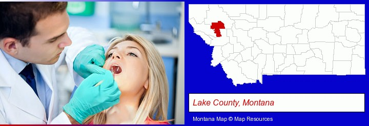 a dentist examining teeth; Lake County, Montana highlighted in red on a map