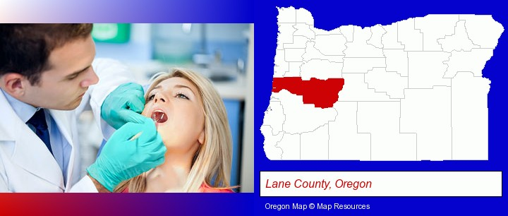 a dentist examining teeth; Lane County, Oregon highlighted in red on a map