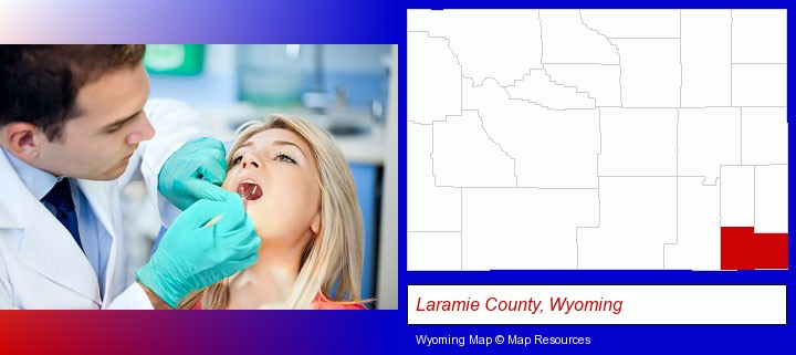 a dentist examining teeth; Laramie County, Wyoming highlighted in red on a map