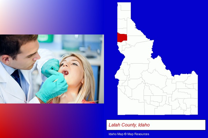 a dentist examining teeth; Latah County, Idaho highlighted in red on a map
