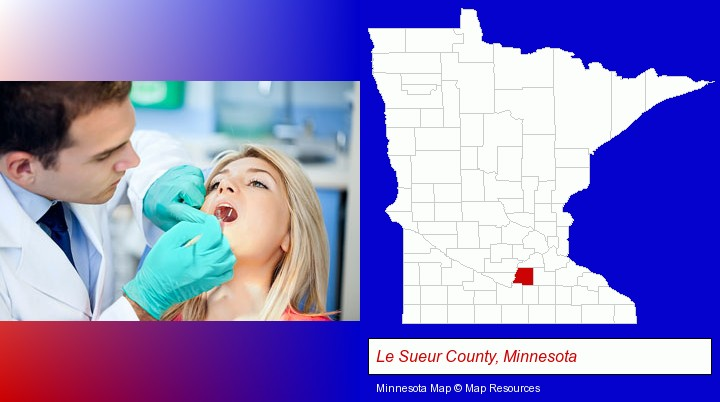 a dentist examining teeth; Le Sueur County, Minnesota highlighted in red on a map