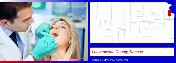 a dentist examining teeth; Leavenworth County, Kansas highlighted in red on a map