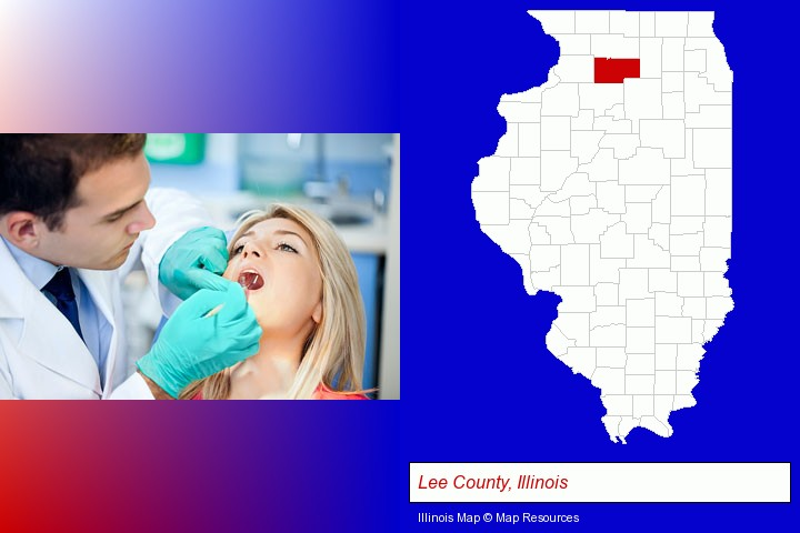 a dentist examining teeth; Lee County, Illinois highlighted in red on a map