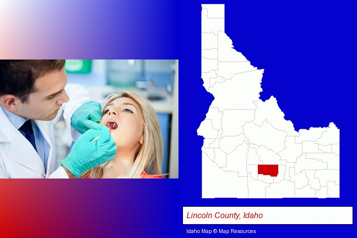 a dentist examining teeth; Lincoln County, Idaho highlighted in red on a map