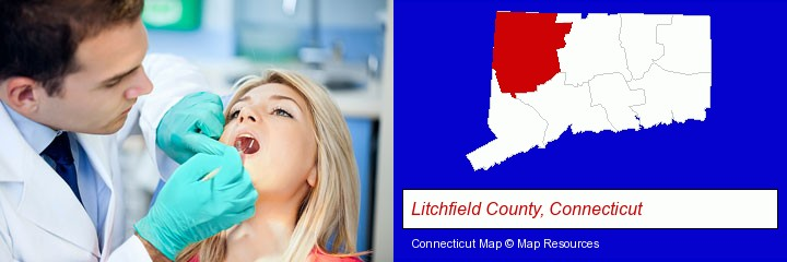 a dentist examining teeth; Litchfield County, Connecticut highlighted in red on a map