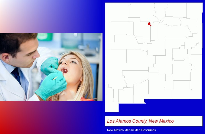 a dentist examining teeth; Los Alamos County, New Mexico highlighted in red on a map
