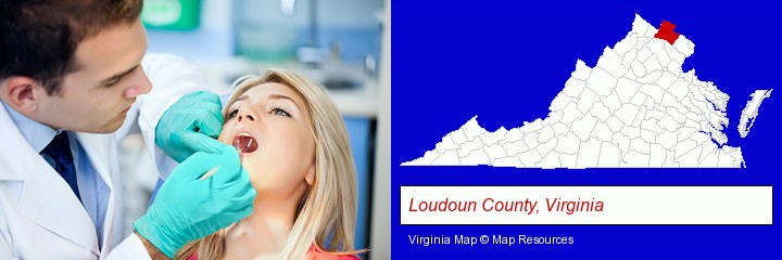 a dentist examining teeth; Loudoun County, Virginia highlighted in red on a map