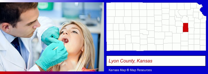 a dentist examining teeth; Lyon County, Kansas highlighted in red on a map
