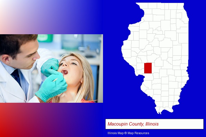 a dentist examining teeth; Macoupin County, Illinois highlighted in red on a map