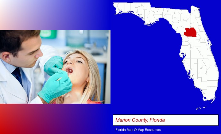 a dentist examining teeth; Marion County, Florida highlighted in red on a map