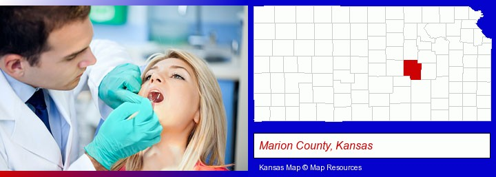 a dentist examining teeth; Marion County, Kansas highlighted in red on a map