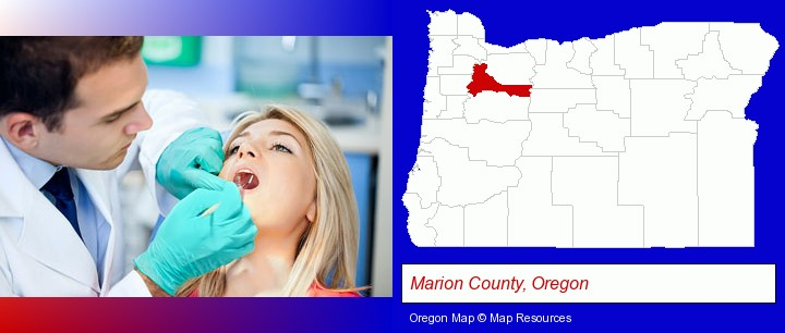 a dentist examining teeth; Marion County, Oregon highlighted in red on a map