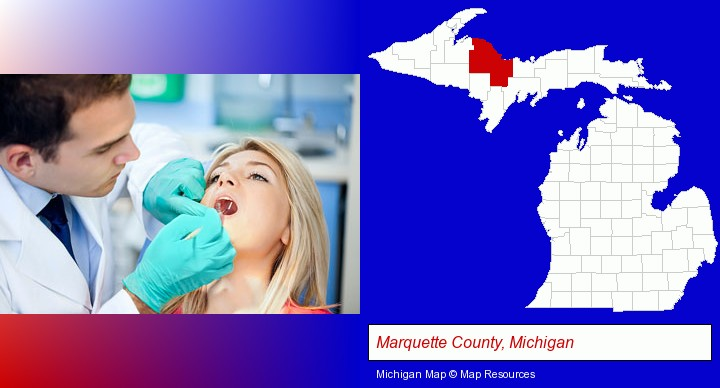 a dentist examining teeth; Marquette County, Michigan highlighted in red on a map
