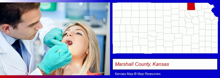 a dentist examining teeth; Marshall County, Kansas highlighted in red on a map