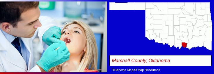 a dentist examining teeth; Marshall County, Oklahoma highlighted in red on a map