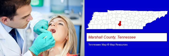 a dentist examining teeth; Marshall County, Tennessee highlighted in red on a map