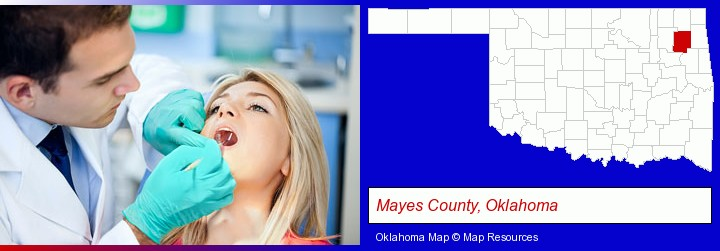 a dentist examining teeth; Mayes County, Oklahoma highlighted in red on a map