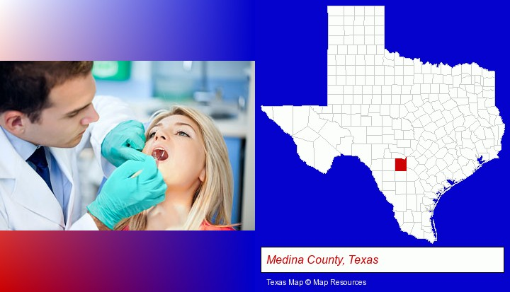 a dentist examining teeth; Medina County, Texas highlighted in red on a map
