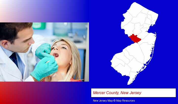 a dentist examining teeth; Mercer County, New Jersey highlighted in red on a map