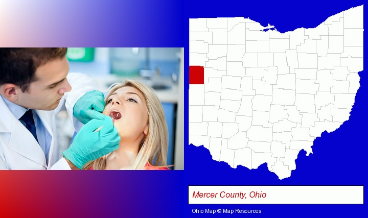 a dentist examining teeth; Mercer County, Ohio highlighted in red on a map
