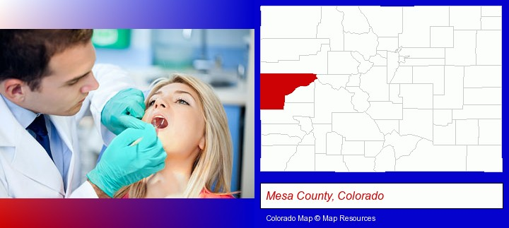 a dentist examining teeth; Mesa County, Colorado highlighted in red on a map