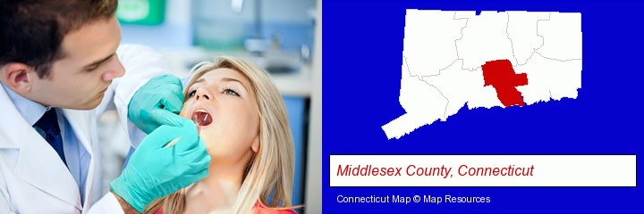 a dentist examining teeth; Middlesex County, Connecticut highlighted in red on a map