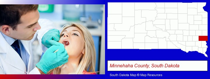 a dentist examining teeth; Minnehaha County, South Dakota highlighted in red on a map