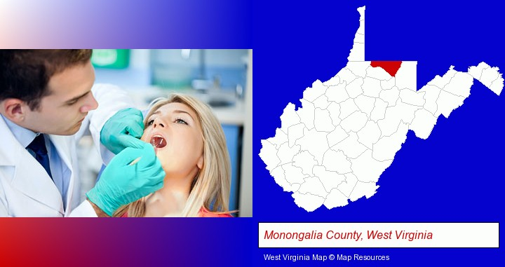 a dentist examining teeth; Monongalia County, West Virginia highlighted in red on a map
