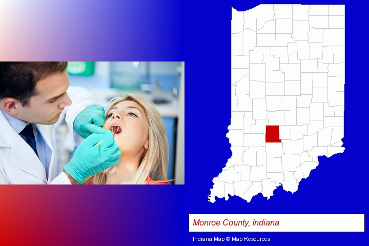 a dentist examining teeth; Monroe County, Indiana highlighted in red on a map