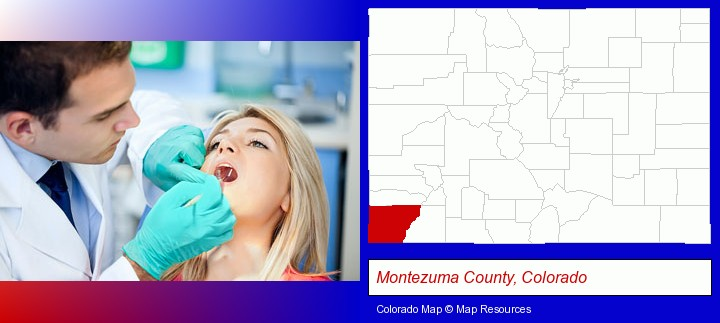 a dentist examining teeth; Montezuma County, Colorado highlighted in red on a map