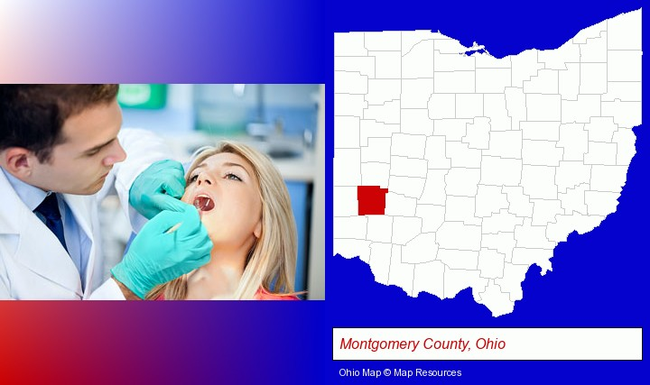 a dentist examining teeth; Montgomery County, Ohio highlighted in red on a map