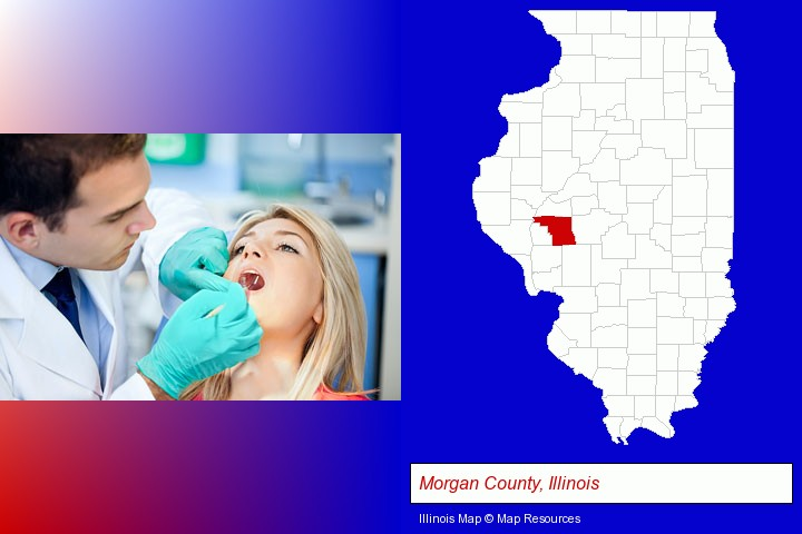 a dentist examining teeth; Morgan County, Illinois highlighted in red on a map
