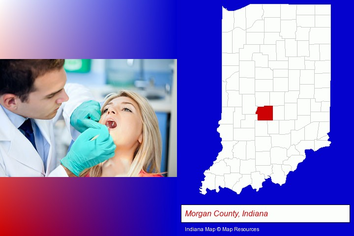 a dentist examining teeth; Morgan County, Indiana highlighted in red on a map