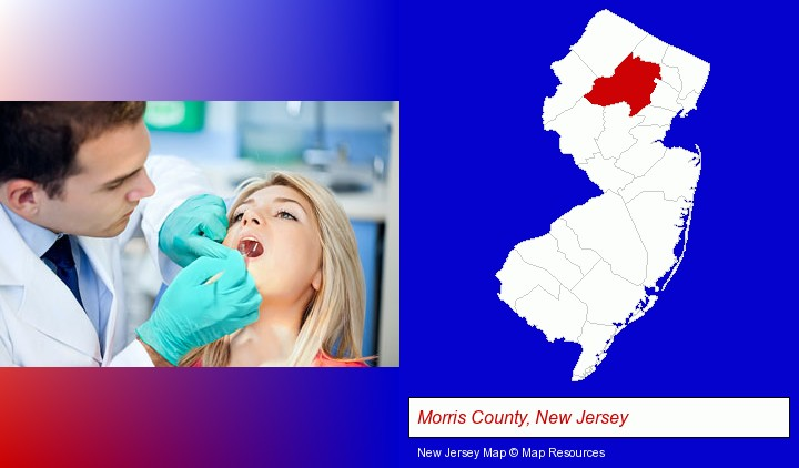 a dentist examining teeth; Morris County, New Jersey highlighted in red on a map