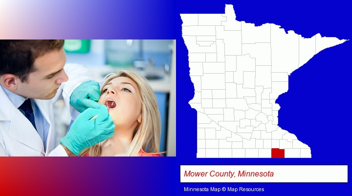a dentist examining teeth; Mower County, Minnesota highlighted in red on a map